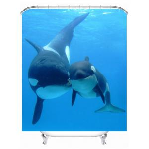 Waterproof Sea Dolphin Polyester Fabric Shower Curtain - Lake Blue - S