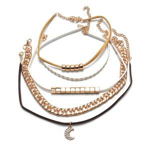 Rhinestone Moon Multilayered Choker