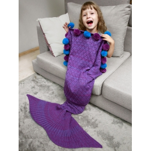 Openwork Pineapple Crochet Mermaid Blanket Throw with Pom Ball For Kids