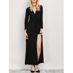 Surplice Long Sleeve Slit Maxi Evening Dress