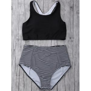Striped High Waisted Padded Sports Bikini with Racerback Crop Top - Black - L