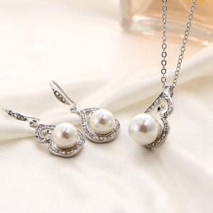 Rhinestone Artificial Pearl Necklace and Earrings - White