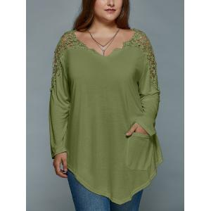 Plus Size Lace Insert Long Sleeve Tunic T-Shirt - Olive Green - 5xl