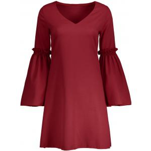 V Neck Flare Long Sleeve Shift Dress - Red - S