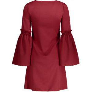 Robe droite Col en V manches cloche - Rouge S