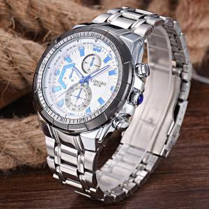 Multifunction Metal Waterproof Analog Watch - WHITE