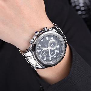 Multifunction Metal Waterproof Analog Watch - BLACK