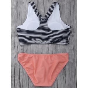 High Neck Striped Cutout Bikini Set -
