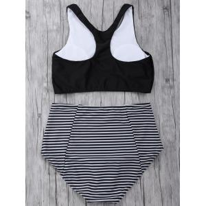 Striped High Waisted Padded Sports Bikini with Racerback Crop Top - BLACK M