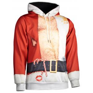 Hooded Father Christmas Costume Lip Print Hoodie - RED 3XL
