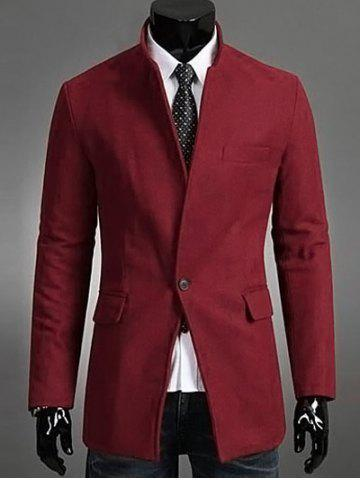 Hot Single Button Stand Collar Wool Coat