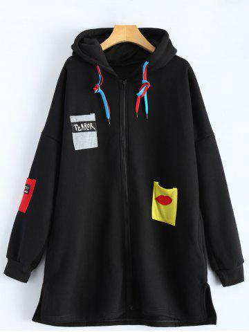 Buy Patchwork Plus Size Hooded Zip Up String Coat - 4XL BLACK Mobile