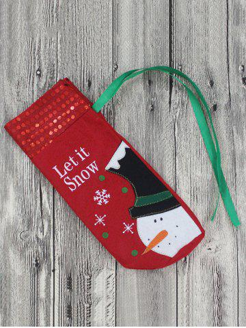 Fashion Merry Christmas Snowman Wine Bottle Cover Bag Table Decoration - RED  Mobile