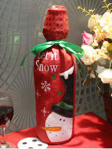 Merry Christmas Snowman Wine Bottle Cover Bag Table Decoration - Red - W60 Inch * L84 Inch
