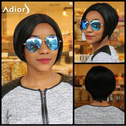 Short Side Parting Straight Skilful Synthetic Capless Wig - Black