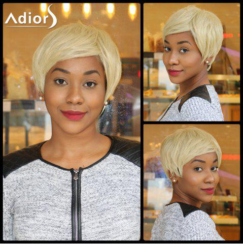 Sparkle Light Blonde Mixed Flaxen Capless Short Straight Synthetic Wig - Colormix - 24inch