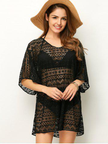 Outfit Openwork See Thru Beach Tunic Cover Up - ONE SIZE BLACK Mobile