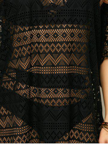 Affordable Openwork See Thru Beach Tunic Cover Up - ONE SIZE BLACK Mobile
