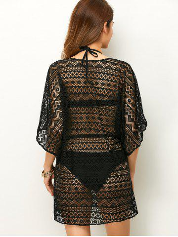 Latest Openwork See Thru Beach Tunic Cover Up - ONE SIZE BLACK Mobile