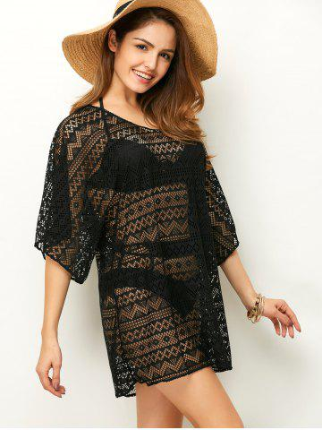 Chic Openwork See Thru Beach Tunic Cover Up - ONE SIZE BLACK Mobile
