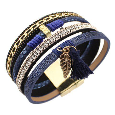 Trendy Tassel Leaf Faux Leather Strand Bracelet - BLUE  Mobile