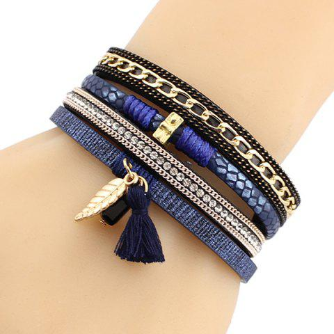 Shops Tassel Leaf Faux Leather Strand Bracelet - BLUE  Mobile