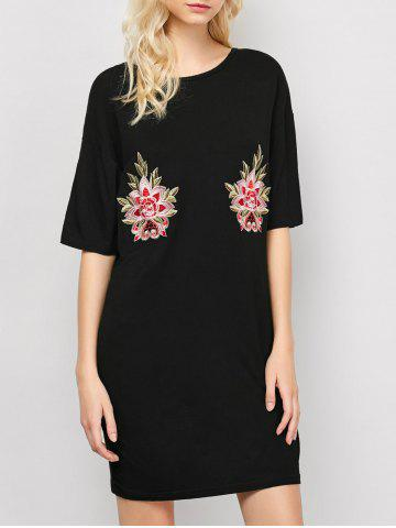 Unique Embroidered Casual Shift Summer T-Shirt Dress BLACK L
