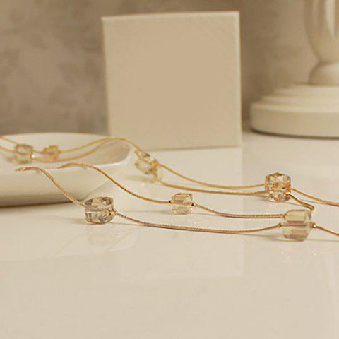 Trendy Fake Crystal Cubes Sweater Chain - GOLDEN  Mobile