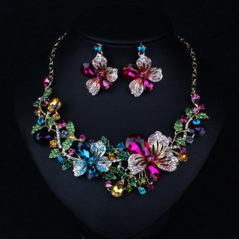 Trendy Fake Crystal Flower Bib Charm Necklace and Earrings - COLORFUL  Mobile