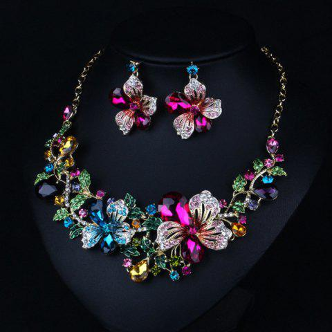Fancy Fake Crystal Flower Bib Charm Necklace and Earrings - COLORFUL  Mobile