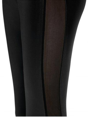 Hot Mesh Panel PU Leather Leggings - ONE SIZE BLACK Mobile