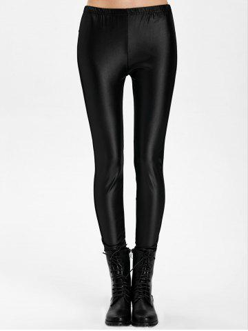 Affordable Mesh Panel PU Leather Leggings