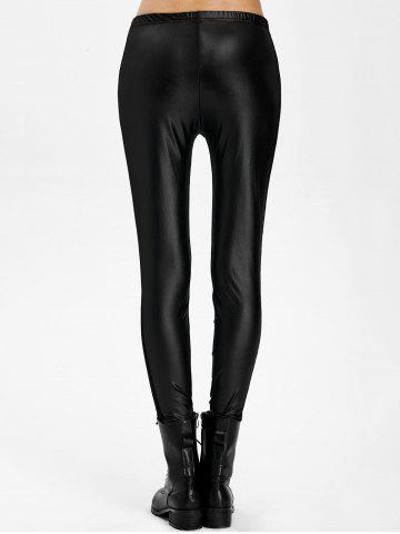 Trendy Mesh Panel PU Leather Leggings - ONE SIZE BLACK Mobile
