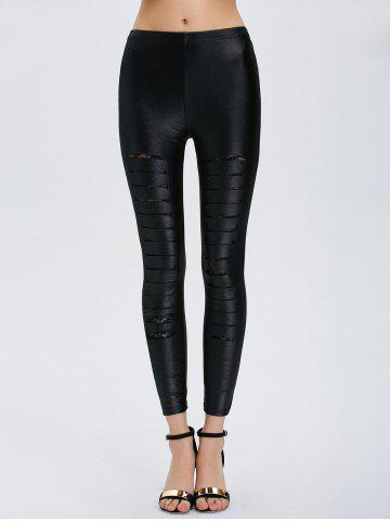 Fancy Ripped Lace Insert Skinny Leggings - ONE SIZE BLACK Mobile