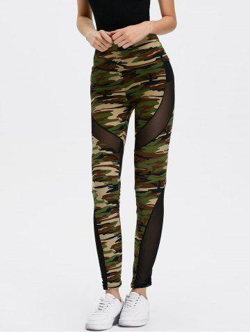 Chic Mesh Insert Camo High Waist Leggings - ONE SIZE CAMOUFLAGE COLOR Mobile