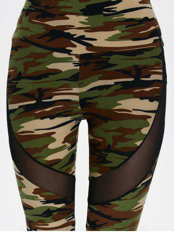 Shops Mesh Insert Camo High Waist Leggings - ONE SIZE CAMOUFLAGE COLOR Mobile