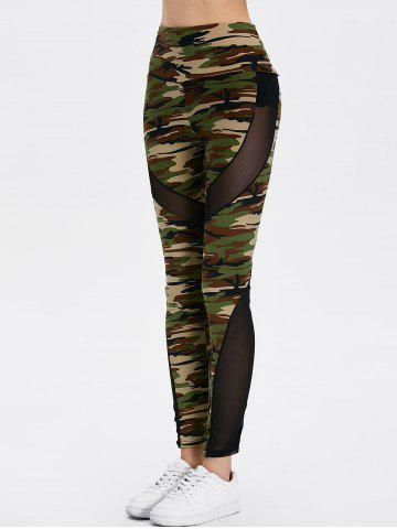 Affordable Mesh Insert Camo High Waist Leggings - ONE SIZE CAMOUFLAGE COLOR Mobile
