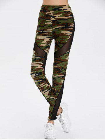 Latest Mesh Insert Camo High Waist Leggings - ONE SIZE CAMOUFLAGE COLOR Mobile
