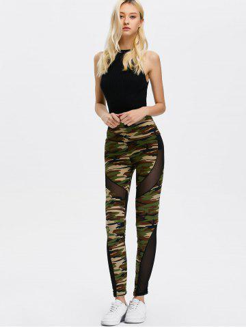 Trendy Mesh Insert Camo High Waist Leggings - ONE SIZE CAMOUFLAGE COLOR Mobile