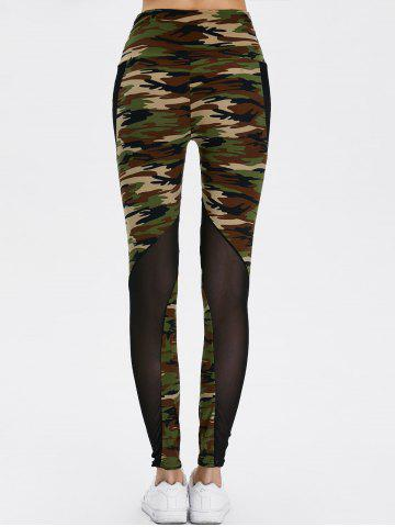 Fancy Mesh Insert Camo High Waist Leggings - ONE SIZE CAMOUFLAGE COLOR Mobile