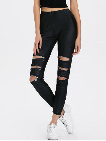 Latest Zippers Ripped Ninth Length Leggings - ONE SIZE BLACK Mobile