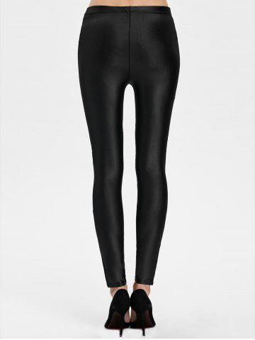 Sale Lace Panel See Thru Ankle Length Leggings - ONE SIZE BLACK Mobile