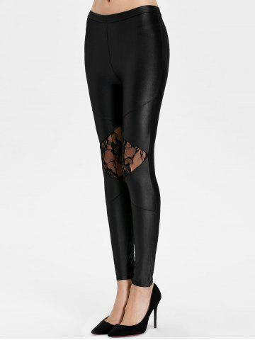 Shops Lace Panel See Thru Ankle Length Leggings - ONE SIZE BLACK Mobile