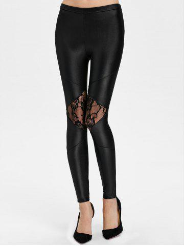 Trendy Lace Panel See Thru Ankle Length Leggings BLACK ONE SIZE