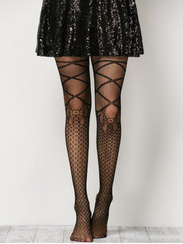 Trendy Criss Cross Bow Pattern Fishnet Pantyhose - ONE SIZE BLACK Mobile