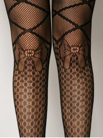 Shops Criss Cross Bow Pattern Fishnet Pantyhose - ONE SIZE BLACK Mobile