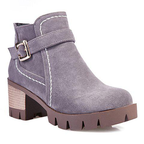 Stitching Buckle Strap Zipper Ankle Boots - Gray - 37