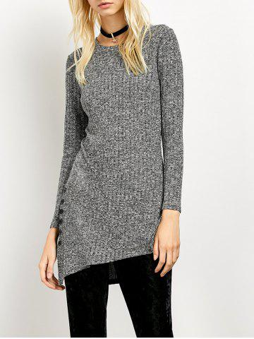 Side Slit Asymmetrical Ribbed Sweater