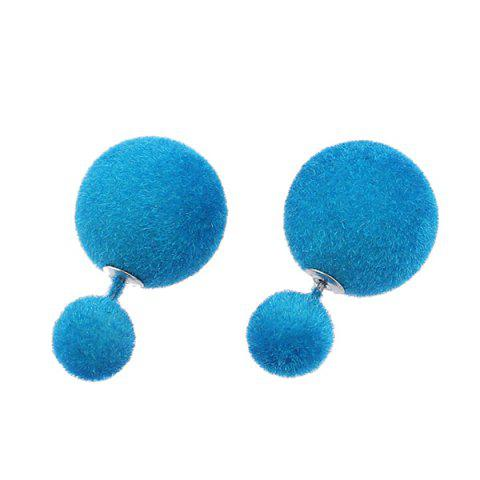 Best Two Fuzzy Ball Candy Color Stud Earrings AZURE