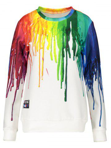 Chic 3D Splatter Paint Sweatshirt WHITE 2XL